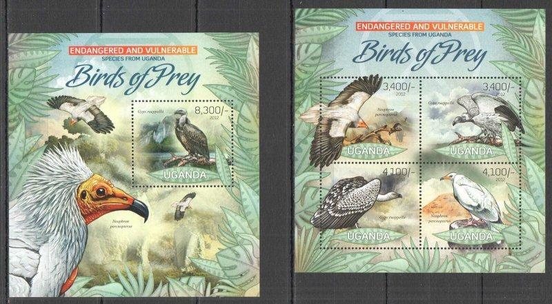 UG027 2012 UGANDA BIRDS OF PREY FAUNA ENDANGERED & VULNERABLE #2960-3+BL405 MNH