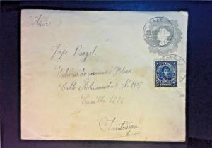 Chile 1912 Uprated Postal Stationary Used - Z917
