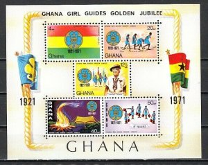 Ghana, Scott cat. 425a. Girl Guides Golden Jubilee s/sheet.