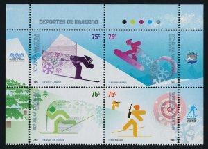 Argentina 2394 Top Block MNH Winter Sports, Skiing, Biathlon, Snowboarding