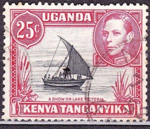 KENYA UGANDA TANGANYIKA 1952 KGVI 25c Black & Carmine-Red SG140 FU