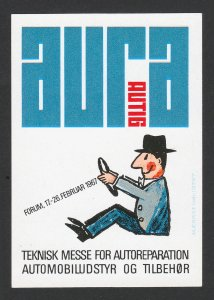 REKLAMEMARKE POSTER STAMP AURA AUTIG TEKNISK MESSE AUTOMOBILE CAR SWEDEN 1967