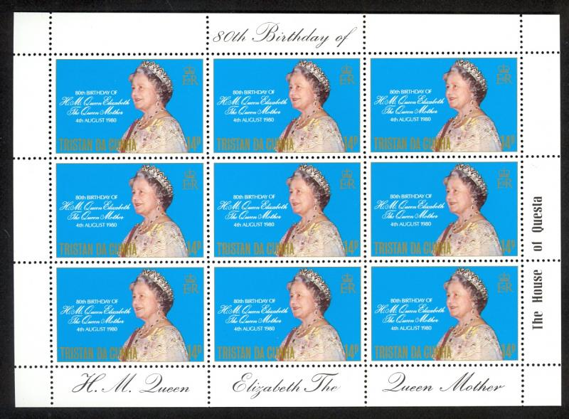 TRISTAN DA CUNHA 1980 Queen Mothers Birthday SHEETLET of 9 Sc 277 x9 MNH