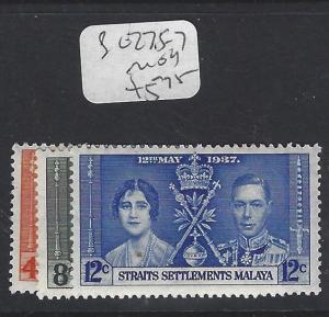 MALAYA  STRAITS SETTLEMENTS  (P0609B)   KGVI CORONATION SG 275-7   MOG