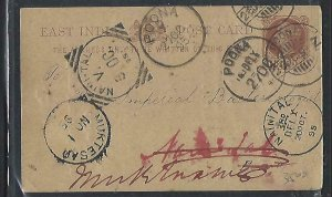 INDIA    (PP2809B)  1895 QV 1/4A PSC LOTS OF CANCELS FROM POONA THEN FORWARDED