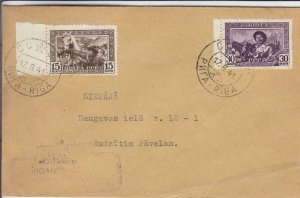 1941, Riga, Latvia, Sc #836-837 on a Philatelic Cover (30990)