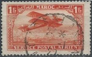 French Morocco C7 (used) 1fr biplane over Casablanca, verm (1922)