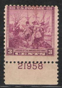US 1938 Sc# 836 MH VG - Plate Number single