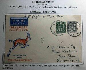 1931 Kampala Uganda KUT First Flight Cover FFC To Capetown South Africa Xmas