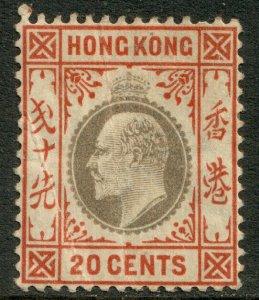 Hong Kong KEVII 1903 20c Slate Chestnut SG69 Mint MH