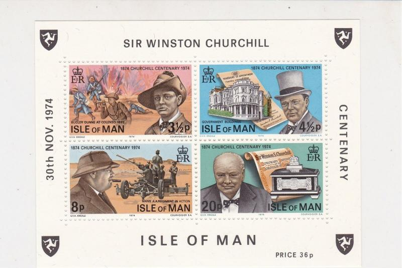 Isle of Man 1974 Centenary Sir Winston Churchill MNH Stamps Sheet Ref 27129
