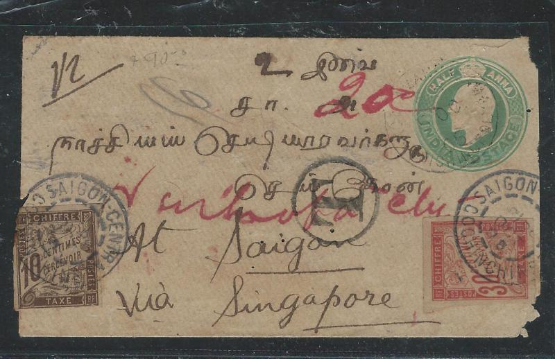 INDOCHINA (P2805B) INCOMING FROM INDIA PSTAGE DUE 1905 COVER 10C+30C
