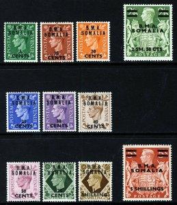 BRITISH OCCUPATION KG VI 1948 Overprinted B.M.A. SOMALIA SG S10 to SG S20 MINT