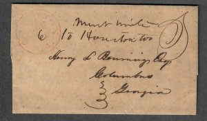 $Georgia Stampless Cover, Eaton March 6, 1849 red CDS, contents