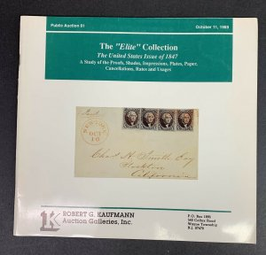 The Elite Collection of U.S. 1847, Robert G. Kaufmann, Sale 61, Oct. 11 1989