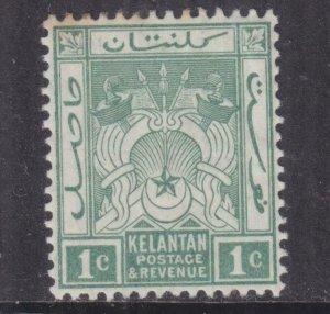 KELANTAN, 1911 Arms, Mult. CA. 1c. Blue Green, lhm., spots at top.