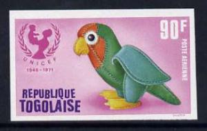 Togo 1971 Toy Parrot 90f imperf from UNICEF Anniversary s...