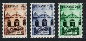 Suriname 60th Anniversary of Arya Dewaker Temple 3v SG#1437-1439 MI#1323-1325