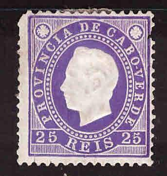 Cabo Verde Cape Verde Scott 18 MH* 1885 King Luiz stamp pulled perf