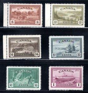 Scott 268-273, Set, MNHOG, F/VF, Canada, King George VI Peace Issue