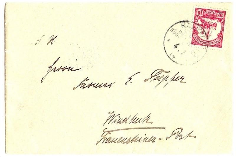 German Southwest Africa, 1914 Local Cover 10 Pf. Yacht, KALKFELD to WINDHUK