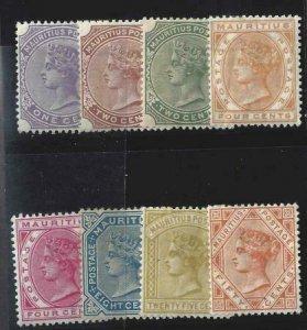 Mauritius 1882-1893 SC 68-75 MLH Set