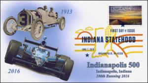 2016, Indiana Statehood, 200 Years, FDC, Color Digital Postmark,Indy 500, 16-187