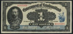 NEWFOUNDLAND NF-12d RENOUF / BROWNING XF+ $1 1920 CV $3,400 WLM4606