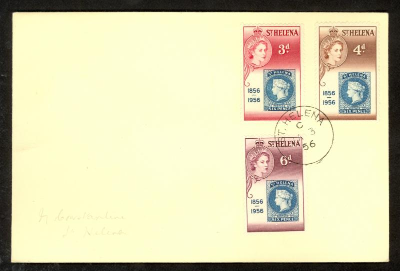 ST HELENA 1956 POSTAGE STAMP ANNIVERSARY Set on FDC Scott 153-155 Cover
