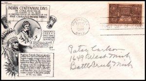 US 972 Indian Centennial Aristocrats Pencil FDC