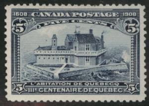 CANADA Scott 99 MH* 1908 Quebec Issue CV$125