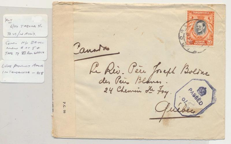 KUT (BRITISH) TABORA TO CANADA 1944 CENSOR COVER, POSTED IN N.RHODESIA(SEE BELOW