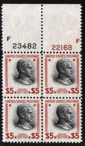 US Sc 834 Carmine Black $5.00 MNH Original Gum GEM Top Plate Block of 4