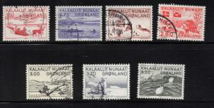Greenland Sc 112-18 Paintings of Native Life stamp set used
