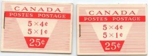 Canada USC #BK51a Long & Short Staple 1c & 4c Panes - VF-NH