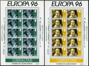 Gibraltar 703-706 sheets,MNH. EUROPA CEPT-1996.British Royal Family women.