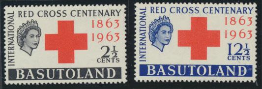 Basutoland  SG 81  / 82  Mint  Light trace of Hinge - Red Cross