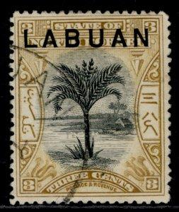 NORTH BORNEO - Labuan QV SG91b, 3c ochre, FINE USED.