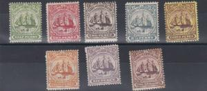 TURKS & CAICOS 1900-04 SG 101-107 VARVALUES TO 1/- MH 2 STAMPS TONED I OLD HINGE