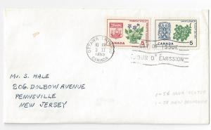 Canada FDC 1965 Provincial Flowers Coat of Arms Sc# 420 421