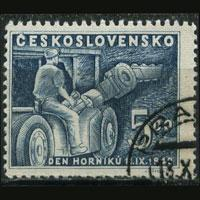 CZECHOSLOVAKIA 1949 - Scott# 396 Mining Machine 5k Used