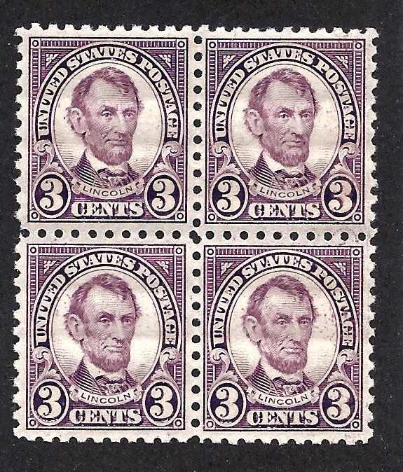 584 Mint,OG,XLH/NH... Block of 4... SCV $175.00