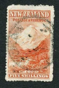 New Zealand SG329a 5/- Dull Red Wmk upright Perf 14 Cat 375 pounds