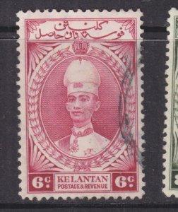 KELANTAN, 1937 Sultan Ismail, 6c. Lake, used.