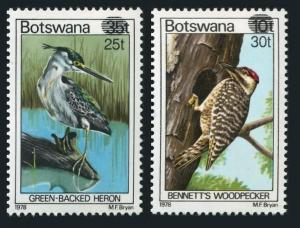 Botswana 289-290,MNH.Michel 281-282. Heron,Woodpecker,New value 1981.