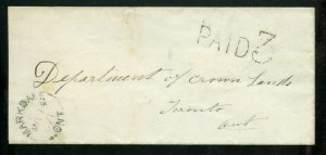 PAID 3 Markdale Ont.1871 to Toronto 1871 stampless cover Canada