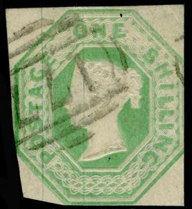 SG54, 1s pale green, CUT SQUARE, USED. Cat £1000.