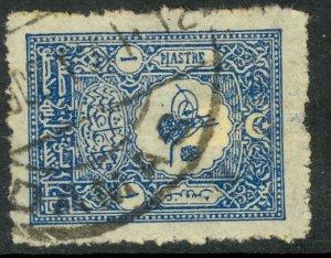 TURKEY 1901 1pi Blue Sc 113 with DAMAS SYRIA Postmark Used