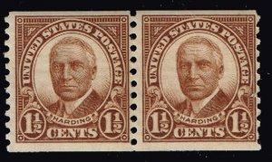 US STAMP #686 – 1930 1 1/2c Harding, brown, coil MNH/OG PAIR