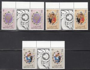 Brunei, Sc 268-270, MNH, 1981,  Royal Wedding, Gutter Pair